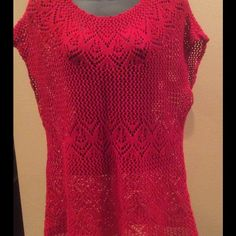 "Selling this ""Cute! Red Crochet Top. Size XL"" in my Poshmark closet! My username is: dkellim. #shopmycloset #poshmark #fashion #shopping #style #forsale #Outfit #Tops"
