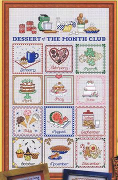 The complete set of four leaflets with together complete a colourful kitchen sampler each with parts which can be stitched separately.  By Sue Hillis