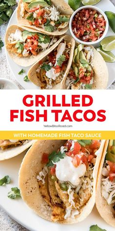 Grilled Fish Tacos are healthy and flavorful, topped with crunchy cabbage, and our tangy homemade fish taco sauce, all stuffed in a grilled corn tortilla. #fishtacos #tacos Side Dish Recipes, Healthy Dinner Recipes, Mexican Food Recipes, Vegetarian Recipes, Cooking Recipes, Ethnic Recipes, Yummy Recipes, Cooking Tips, Barbecue Recipes