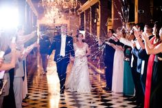 Elegant Riverside Wedding at the Mission Inn Hotel and Spa, CA Fun popper sendoff! Photographer: Paul Douda Photography