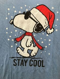 Peanuts Snoopy Christmas Stay Cool Santa Hat Jack of All Trades Tee Shirt Large Merry Christmas Funny, Peanuts Christmas, Christmas Rock, Christmas Cartoons, Charlie Brown Christmas, Charlie Brown And Snoopy, Christmas Greetings, Xmas, Mens Ugly Christmas Sweater