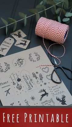 Free printable! Christmas gift tags hand-drawn by Decorator's Notebook, thanks so xox