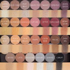 MakeUp Geek eyeshadow swatches. That top row but with one or two darker colours like curfew & vintage (mango ideas products)