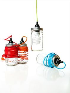 DIY Style  With their colorful plugs and creative use of Mason jars, these lanterns have a definite DIY aesthetic.