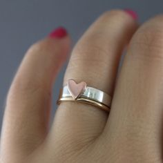 Heart Stack Ring Heart Band Ring Stack Ring Duo by LittleGreenRoom