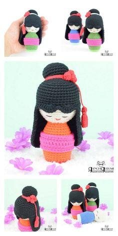 Amigurumi Tiny Japanese Girls Free Pattern – Amigurumi Free Patterns Free Crochet, Crochet Hats, Japanese Doll, Amigurumi Doll, Yarn Colors, Giraffe, Free Pattern, Crochet Patterns, Dolls