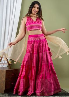 #pink #readymade #satin #silk #lehenga #choli #designs # traditional #indian #outfits #gorgeous #wedding #look #ootd #new #arrival #womenswear #online #shopping Satin Color, Pink Color, Beige Color, Pink Lehenga, Lehenga Choli, Choli Designs, How To Dye Fabric, Silk Satin, Two Piece Skirt Set