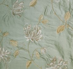 Honeysuckle Embroidered Silk Curtain Fabric Beautiful aqua silk with embroidered honeysuckle design in stone