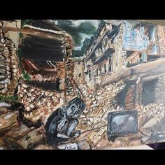 Acrylic detailed painting showing the destitute Environment Painting, City Photo, Paintings, Art, Art Background, Paint, Painting Art, Kunst, Performing Arts