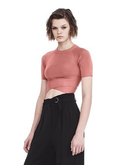 T by ALEXANDER WANG KNIT CRISS CROSS CROP TOP TOP Adult 12_n_a