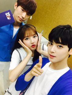 ahhh my biases Seungjun and Eunwoo, I don't know the name of the girl though Bubblegum Pop, Astro Eunwoo, Knk Seungjun, Lee Dong Min, Astro Fandom Name, Kpop Couples, Ulzzang Couple, Cha Eun Woo, G Friend