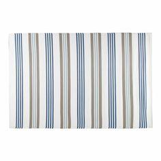 Alfombra de exterior de tela beis y azul 180 x 270 cm CANCALE