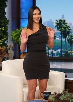 f849fa41d4b Splurge  Kim Kardashian s The Ellen Show Balenciaga Resort 2017 Black  Asymmetrical Twist One Shoulder Sleeveless Dress (The Fashion Bomb Blog)