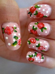 Flowers and dots. looks so real! who can do that!? who can do that!? Flower/nail styles