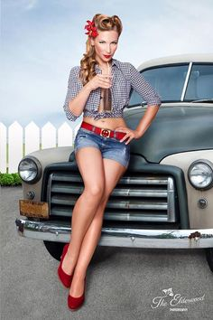 60's Pin Up Girl Inspiration, Josephine Blossom. Soda and automobile as props