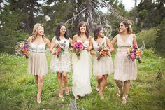 Lovely collection of bridesmaids dresses // photo by Orange Turtle Photography