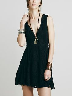 Black V Neck Sleeveless Lace A-line Dress | Irisie