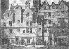 Engraving from 'Old & New Edinburgh'  -  The Grassmarket
