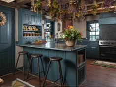 Country Blue Kitchen: Farley Garrison House in Gilmanton, N. Another version of a Farmhouse KItchen. Farmhouse Kitchen Interior, Rustic Kitchen Cabinets, Colonial Kitchen, Interior Design Kitchen, Kitchen Rustic, Rustic Farmhouse, Farmhouse Ideas, Farmhouse Design, Kitchen Utensils