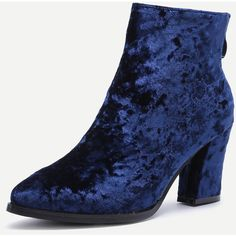 Diamond Velvet Navy Point Toe Chunky Heel Booties ❤ liked on Polyvore featuring shoes, boots, ankle booties, navy blue boots, chunky heel boots, thick heel booties, navy booties and velvet booties