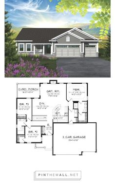 Garage house plans - ePlans Craftsman House Plan Affordable But Spacious Craftsman Ranch 1501 Square Feet and 3 Bedrooms from ePlans House Plan Code Rambler House Plans, Garage House Plans, Ranch House Plans, Best House Plans, Bedroom House Plans, Dream House Plans, Small House Plans, Car Garage, Garage Closet