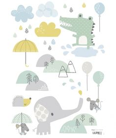 Sticker chambre bébé éléphant dawn machell for lilipinso