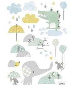 Stickers crocodile et éléphant Smile, it's raining by Dawn Machell x 42 cm) Alphabet Poster, Ambiance Sticker, Cuadros Diy, Decoration Stickers, Baby Kind, Little Girl Rooms, Kids Prints, Cartoon Kids, Baby Design