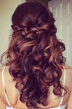 Elegant curly half updo prom hairstyle 2015 with bouncy long curls