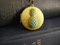 Vintage Pineapple Locket verdigris pineapple by CHAiNGEthesubject, $28.00
