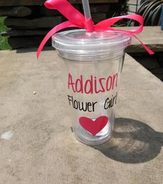 Flower Girl Tumbler, Flower Girl Cup, Personalized