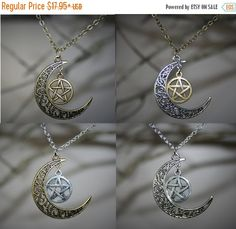 Sterling silver victorian healers pentacle pendant pentacle pentacle and moon pendant wiccan jewelry antique bronze and antiqued silver jewelry tribal celtic moon and pentacle necklace pagan aloadofball Choice Image