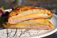 Ingredients (for 2 sandwiches): 4 slices of soft toast bread 2 tsp. mustard 2 tsp mayonnaise [you Can use only … Mayonnaise, Cheese Recipes, Cooking Recipes, Nutella, Monte Cristo Sandwich, Sliced Ham, Just Cooking, Wrap Sandwiches, Sandwich Recipes