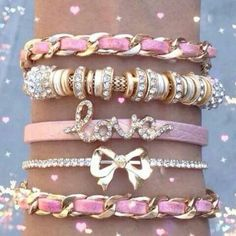 Pinner Said: Pink arm candy! Love the bling! Cute Jewelry, Jewelry Accessories, Fashion Accessories, Pink Jewelry, Pink Love, Pretty In Pink, Hot Pink, I Believe In Pink, Cute Bracelets