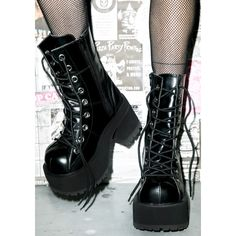 Demonia Under Pressure Platform Boots (125 CAD) ❤ liked on Polyvore featuring shoes, boots, lace up high heel shoes, demonia shoes, front lace up boots, platform shoes and laced up boots
