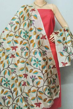 Elegant Tussar dupatta with Kantha work and hand painted motifs