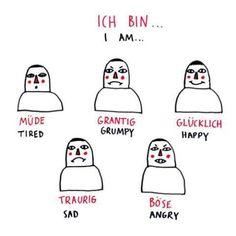 Deutsch Doodles - how to express emotions in german, part 1 - Study German, Learn German, Learn French, German Grammar, German Words, German Language Learning, Spanish Language, Dual Language, Language Study