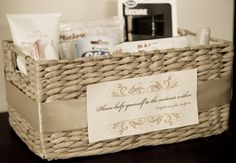 Ideas for contents of bathroom baskets. A nice touch for your guests.