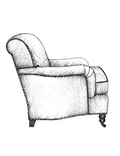 19th century Also known as a Bridgewater armchair, this design is named for its set-back English roll arm which is low-set, gently curved and pleated towards the front. In this example, the backrest features a subtle scroll although a loose backrest and loose T-shaped seat cushion is also a prevalent style. Turned legs on castors is a notable feature of many traditional seating designs and the English roll arm chair is no exception.