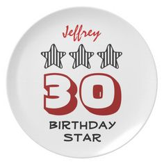 30th Birthday or ANY AGE Striped Stars Custom Name Party Plates   To see more customizable striped Jaclinart gift items:   http://www.zazzle.com/jaclinart+striped+gifts?st=date_created&ps=120  #stripes #striped #pattern #jaclinart #design #create