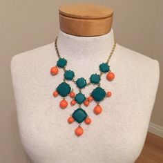 Green and Orange Teardrop Statement Necklace Worn a couple of times but in great condition. Great for summer! Accessories