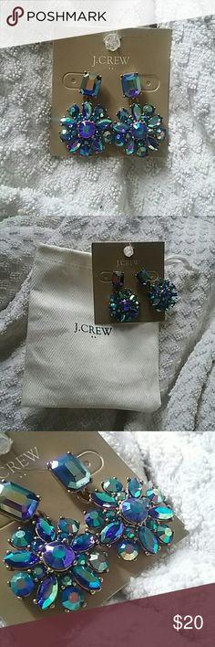 J.Crew crystal earrings Beautiful sparkly crystal earrings by J.Crew. Iridescent blue/green/purple! Unworn. Come with dust bag! J. Crew Jewelry Earrings