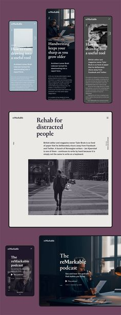 reMarkable - Digital Magazine on Behance Website Design Layout, Website Design Inspiration, Layout Inspiration, Desktop Design, Web Design Projects, Ui Web, Digital Magazine, Magazine Design, Signage