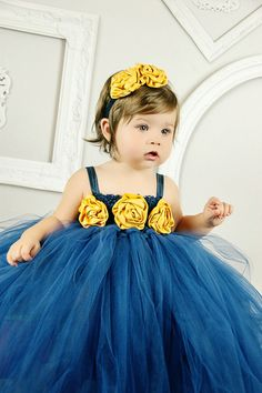 navy blue, mustard yellow, tulle dress, princess party, flower girl, matching headband on Etsy, $45.00