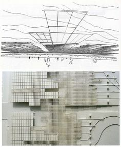 RNDRD is a frequently-updated partial index of architectural drawings and models scanned from design publications throughout the century. Concept Architecture, Architecture Models, Urban Concept, Old Factory, Mario, Diagram, Architectural Drawings, Artwork, Theater