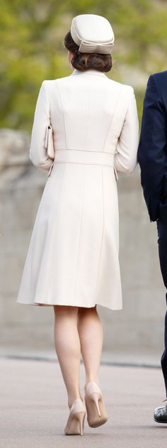 16 April 2017 - The Duke and Duchess of Cambridge attend Easter Service at Windsor Chapel - coat by Catherine Walker, shoes by LK Bennet
