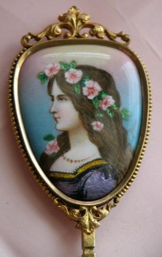 French Antique Hand Mirror of Enamel - Antique Vanity Hand Mirror- Signed