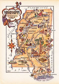 Map of Mississippi (1946) by Jacques Liozu