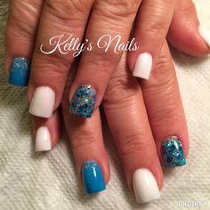 Full acrylic! White & blue!