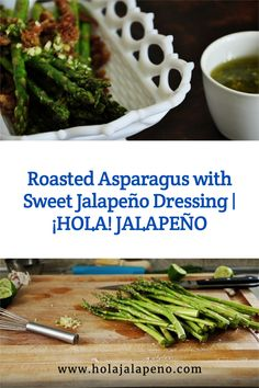 Easy Mexican dishes like this Roasted Asparagus with Sweet Jalapeño Dressing and Garlic Breadcrumbs is the perfect side dish for Easter or any spring party!