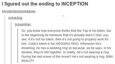"Before we move on, here's the ending to ""Inception"" explained: 